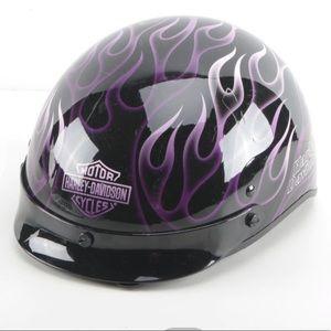 HarleyDavidson Black&Purple Flame Half-Face Helmet
